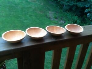 Set Of 4 Granville Company Wooden 7 Salad Bowls Made In Vermont