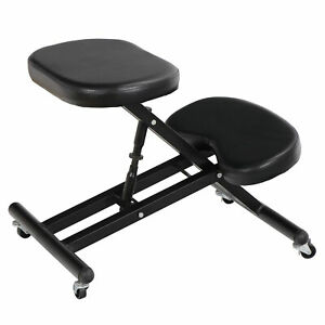 Knee Kneeling Kneeler Support Chair Posture Stool Ergonomic Mobile Black Vintage
