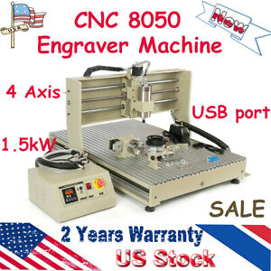 4 Axis Usb 1 5kw Cnc 8050 Wood Engraver Router Drilling Machine Ball Screws Vfd
