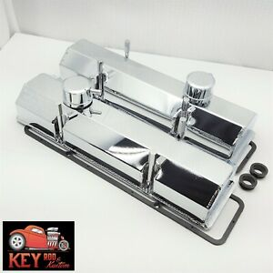 Small Block Chevy Chrome Fabricated Welded Aluminum Valve Covers Breathers 350