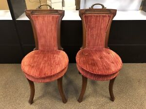 Pair Hickory Chair Co Antique Parlor Style Chairs