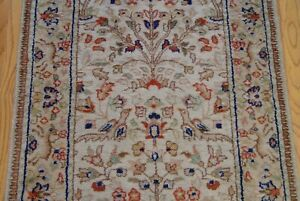 Hand Knotted Tab Riz Wool Oriental Runner Rug Bird Animals 2 6 X 14 Cleaned