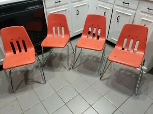 Lot Of 4 Vintage Virco Martest School Chair 17 Seat Height Orange