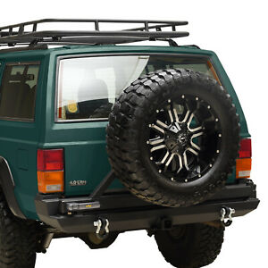 Fit For 1984 2001 Jeep Cherokee Xj Rear Bumper W Tire Carrier Hitch Receiver