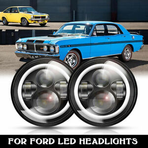 Dot 7 round Led Headlights Halo Angle Eyes For Ford Bronco Country Sedan Courier