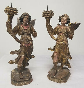 Antique Pair Carved Wood Pricket Candlestick Baroque 18th Cent Angel Figure