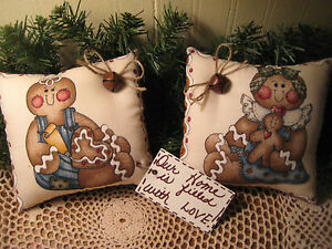Set Of 2 Country Christmas Gingerbread Fabric Shelf Sitters Handmade Home Decor