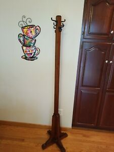 Vintage Coat Rack Solid Wood Hall Tree Hat Stand With Metal Hooks 71 Tall