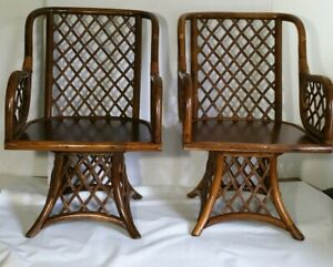 Vintage Mid Century Pair Of Bamboo Cane Armchairs Swivel Chairs Mcm Regency