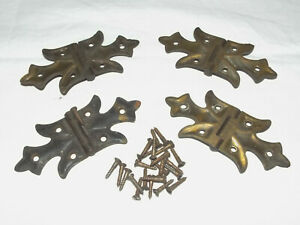 Lot Of 4 Vintage Antique Brass Or Flush Mount Butterfly Cabinet Door Hinges