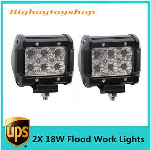 2x 4 18w Boat Led Work Light Bar Flood Offroad 4wd Fog Atv Suv Driving Lights