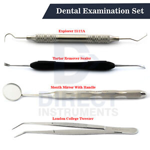 Dental Examination Kit Student Diagnostic Teeth Cleaning Pick Probes Mirror Lab