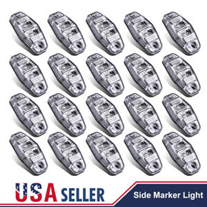20x 2 5 side Marker Clearance Light Surface Mount Mini Clear Len Red Led Light