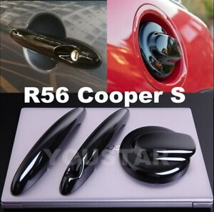Us Stock Gloss Black Petrol Gas Cap Door Handle Covers For Mini R56 Cooper S