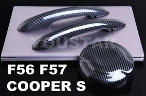 Us Stock Carbon Effect Door Handle Covers Gas Cap For Mini Cooper S Sd F56 F57