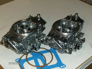 Pair Of Holley Qft 750 Hp Double Pumper Roots Type Blower Polished Finish