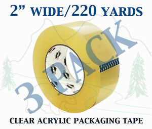 3 Pack Carton Sealing Clear Packing Shipping Box Tape 1 75 Mil 2 X 220 Yards
