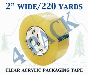 4 Pack Carton Sealing Clear Packing Shipping Box Tape 1 75 Mil 2 X 220 Yards