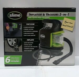 Slime 40058 2 in 1 Tire Inflator And 12v Vacuum New