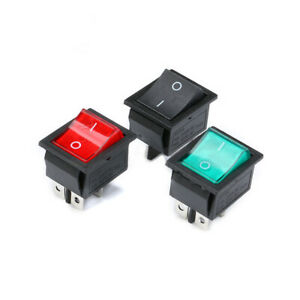 Rocker Switch Rectangular Boat Switch Black Red Green 31x25mm With Lights 16 20a
