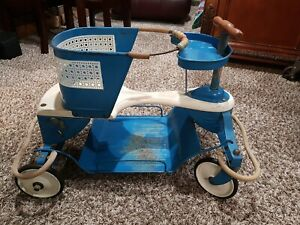 Vintage Taylortot Wood And Metal Baby Buggy Stroller Walker Suspension No Handle