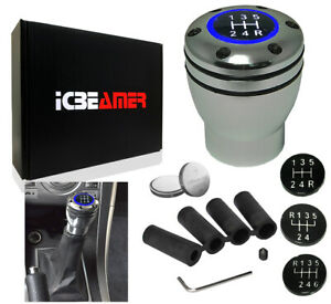 Jdm Racing Style Aluminum Manual Stick Shift Knob 5 6 Speed Led Blue Light Y193