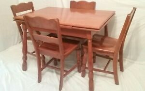Vintage 5 Pc Solid Maple Dinette Set Dining Table 4 Chairs Farmhouse Country