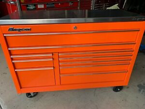 Snap On Snapon Snap on Kra2422 Orange And Chrome Trim Tool Cabinet With Ss Top