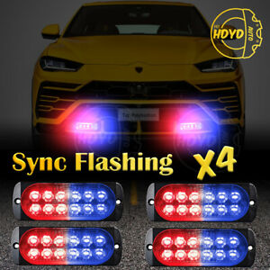 4x 12 Led Car Emergency Beacon Warning Hazard Flash Strobe Light Bar Red Blue
