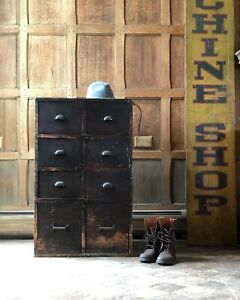 Small Antique Apothecary Drawer Unit Industrial Hardware Cabinet Side Table