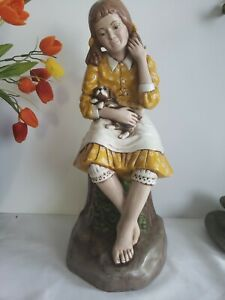 Holland Mold Company Large Figurine Girl Holding A Sleepy Puppy Amazing