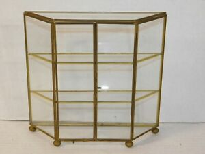 Vtg Brass Glass Curio Cabinet Mirror Display Case Wall Table Mount Storage Shelf