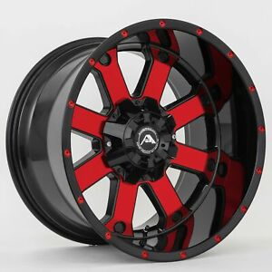 20x12 44 American Off Road 6x135 139 7 A108 Black Machined Red Tint Rims Set