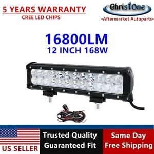 New12 168w Cree Spot Flood Led Work Light Bar W Wire Kit Offroad Pickup Van At