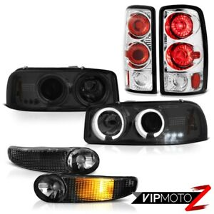 00 06 Gmc Yukon Xl Denali Headlight Led Halo Matte Black Signal Brake Tail Lamps