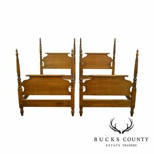 Ethan Allen Circa 1776 Collection Pair Maple Twin Poster Beds