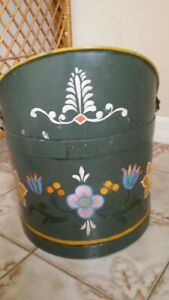 Antique Vintage Italian Italy Tole Painted Metal Bucket Pail Waste Can Basket