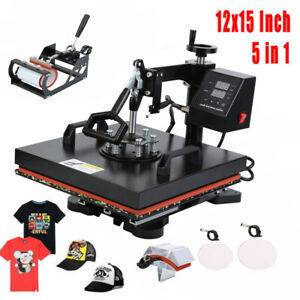 5 In 1 Heat Press Machine Lcd Timer Digital Sublimation T shirt Mug Plate Hat