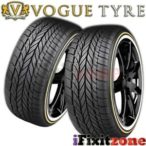 2 Vogue Tyre Custom Built Radial Viii 205 55r16 91h White N Gold Wall Tires