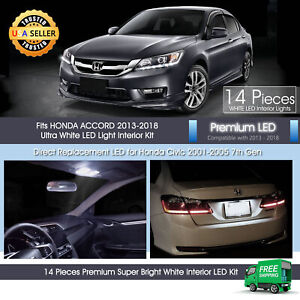 14 X White Interior Led Lights Package For Honda Accord 2013 2018 Sedan Coupe