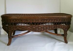 Vintage Wicker Rattan Bamboo Cane Coffee Table