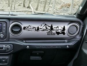 Jeep Jl Jlu Gladiator Wrangler Dashboard Mountain 1941 Willys Scene Vinyl Decal