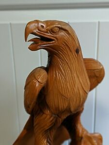 Tall Stunning Hand Carved Majestic Wooden Eagle Statue America Look Those Eyes