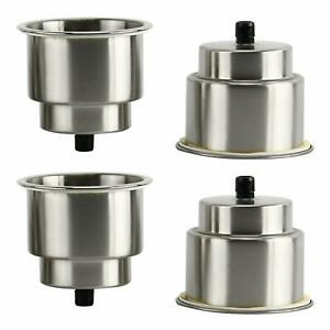 4pcs Recessed Stainless Steel Cup Drink Holder With Drain For Boat Marine Camper