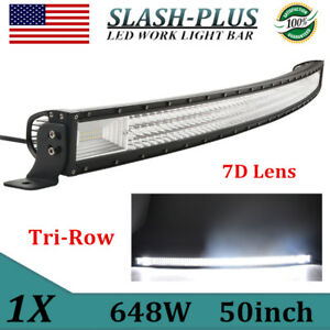 50inch Curved 648w Tri row Led Light Bar Combo Driving Slim Lamp Offroad Truck