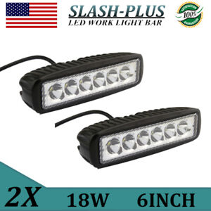 2x 6inch 18w Single Row Led Work Light Bar Spot Beam Offroad Motor Truck Suv 4wd
