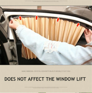 2pc Universal Car Sun Shade Magnetic Curtain Window Sunshade Cover Uv Protection