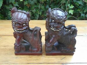 Antique Asian Hand Carved Wood Foo Dogs Bookends Glass Eyes Inlaid Teeth