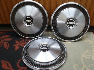 Vintage Set Of 3 1970 1980 Chevrolet Chevy Hubcaps Very Nice