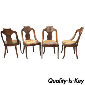Set Of 4 Antique American Empire Crotch Mahogany Saber Leg Gondola Dining Chairs